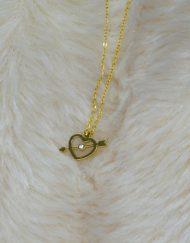 Colar Coração c/Seta | Prateado e Dourado