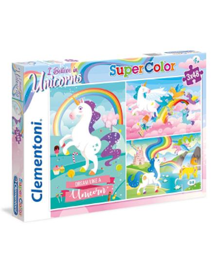 Puzzle Super 3x48 Unicórnio - Clementoni